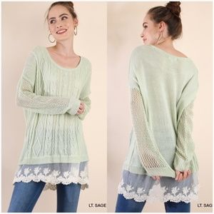 NEW Boat Neck Lightweight Sweater w/ Lace Detail